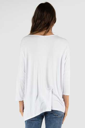 BETTY BASICS Atlanta 3 4 Sleeve Top White Back