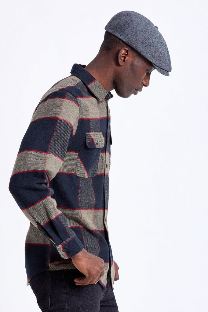 BRIXTON Bowery Flannel Heather Grey Charcoal Side