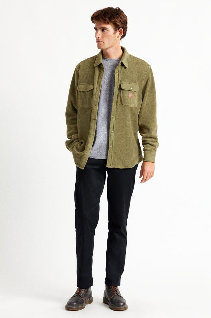 BRIXTON Bowery Fleece Military Olive Front Full