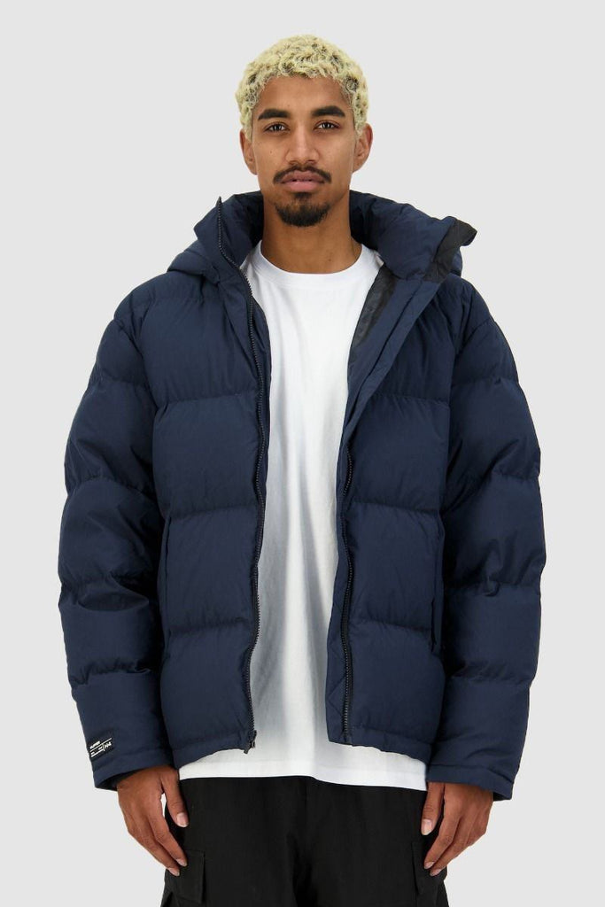HUFFER Mens Block Down Jacket Navy Front