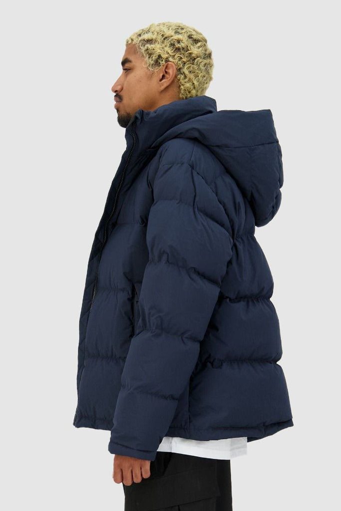 HUFFER Mens Block Down Jacket Navy Side