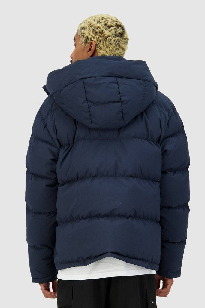 HUFFER Mens Block Down Jacket Navy Back
