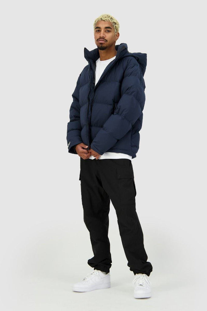 HUFFER Mens Block Down Jacket Navy Front Full