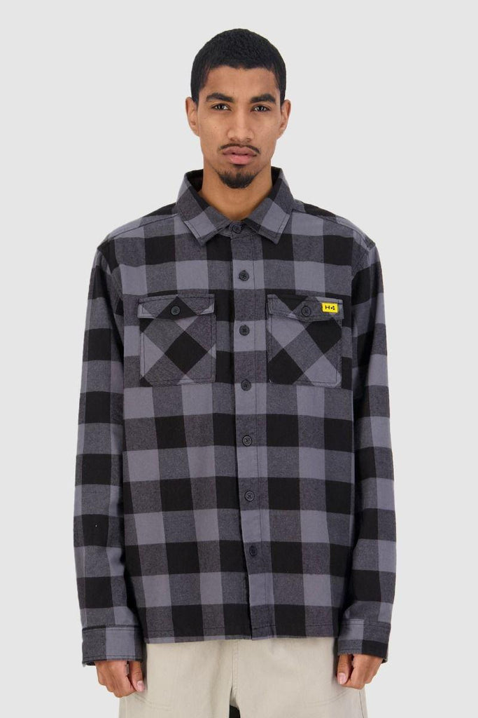 HUFFER Bethells Ls Shirt Black Grey