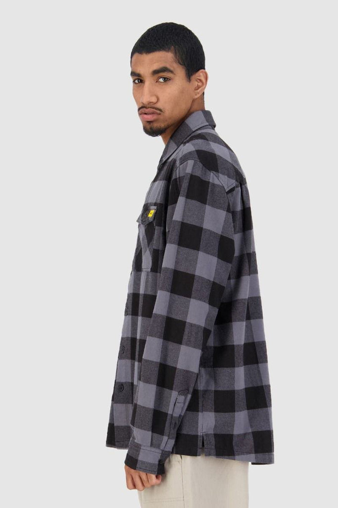 HUFFER Bethells Ls Shirt Black Grey Side