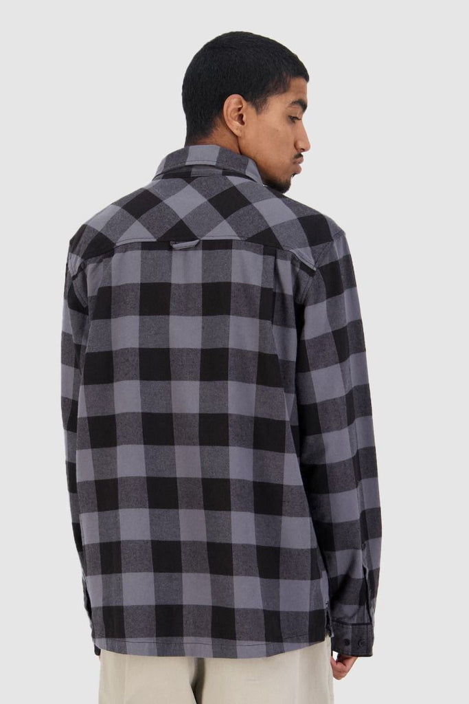 HUFFER Bethells Ls Shirt Black Grey Back