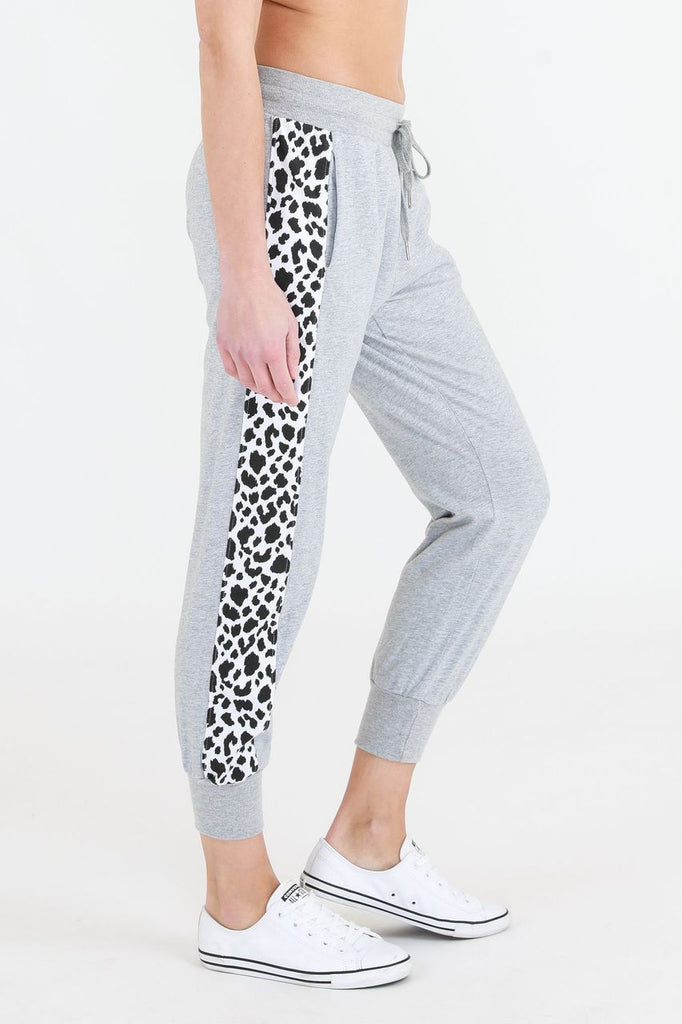 SAT AND SUN Leopard Panel Jogger Grey Marle Side Angle