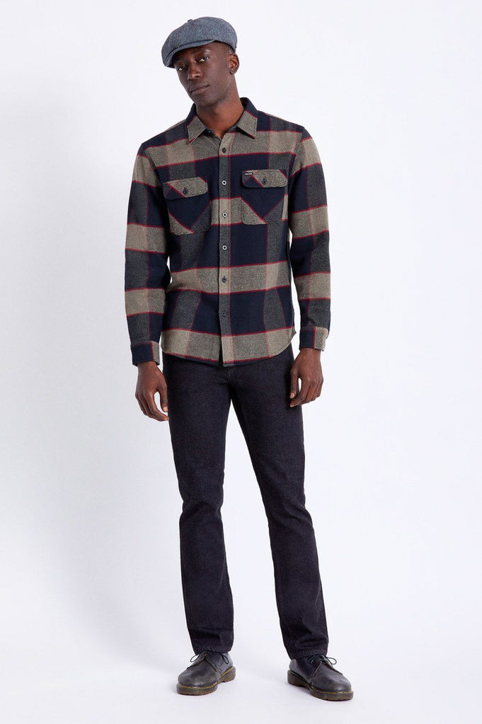 BRIXTON Bowery Flannel Heather Grey Charcoal Front Full