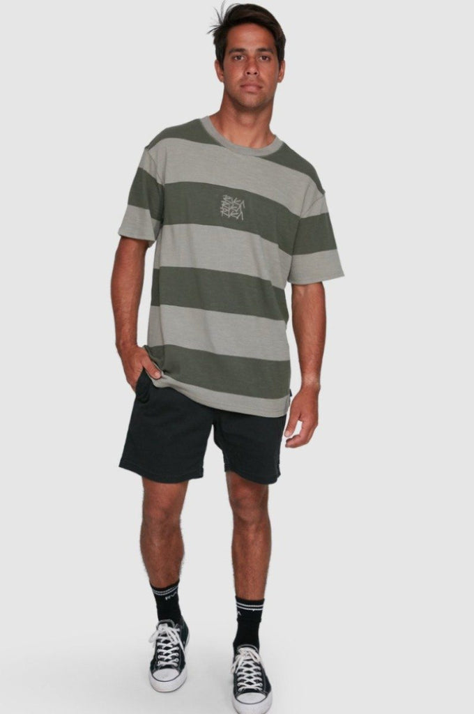 RVCA Pabels Stripe Tee Aloe Front Full