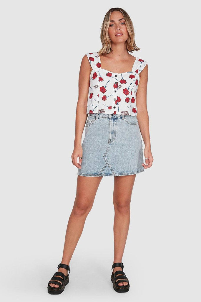RVCA Talking Flowers Top White Front Full