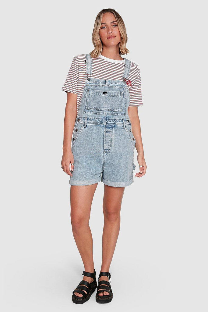 RVCA Sloucher Denim Overall Tradie Blue Front Full