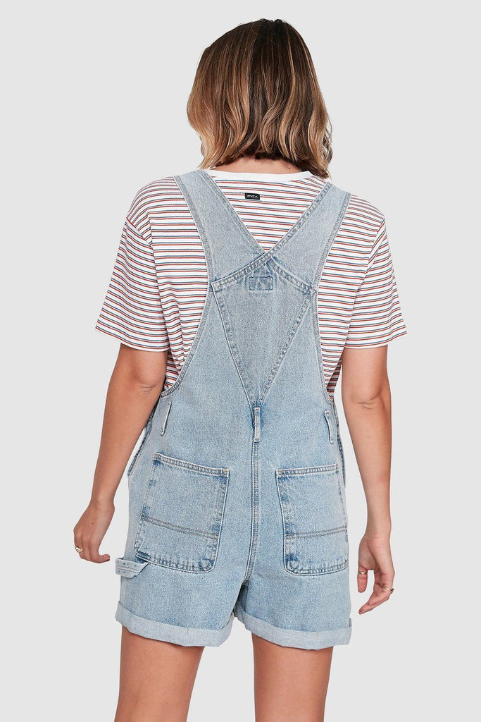 RVCA Sloucher Denim Overall Tradie Blue Back