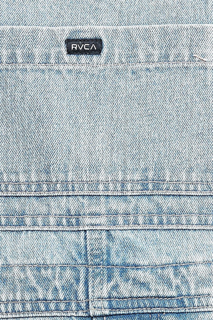 RVCA Sloucher Denim Overall Tradie Blue Fabric Detail