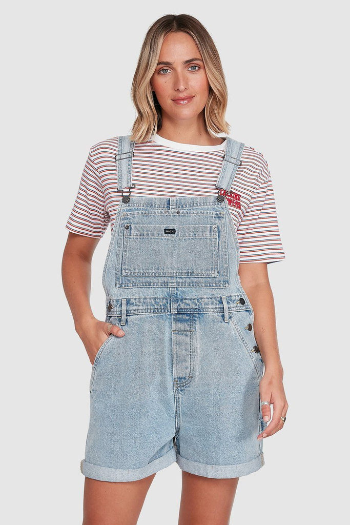 RVCA Sloucher Denim Overall Tradie Blue Front