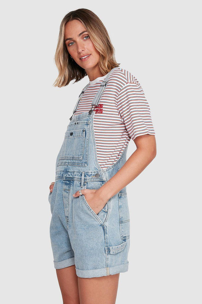 RVCA Sloucher Denim Overall Tradie Blue Side