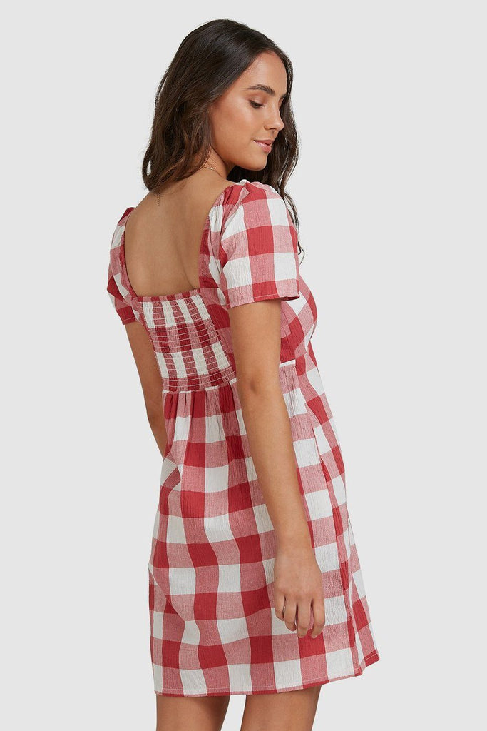 RVCA Checked Out Dress Baked Apple Back