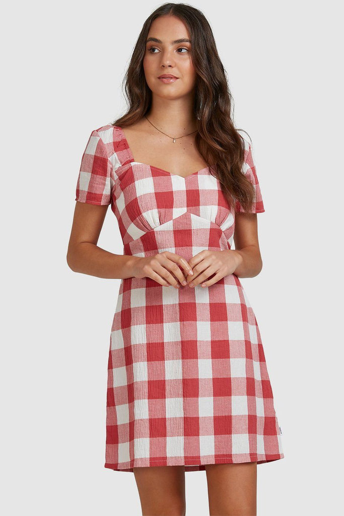 RVCA Checked Out Dress Baked Apple Front