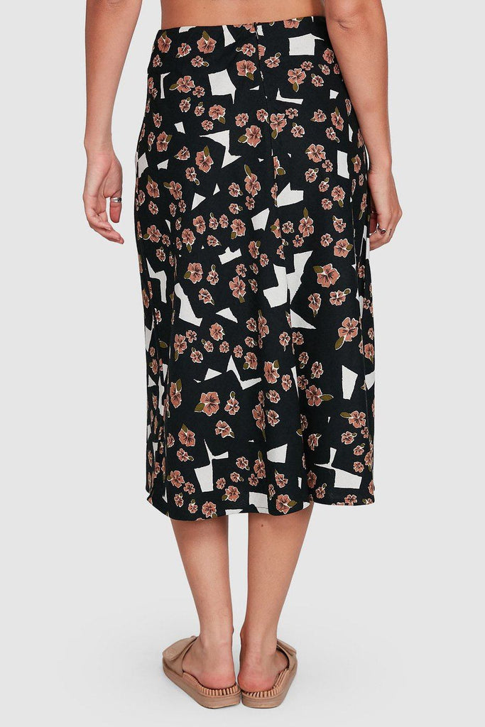RVCA Floral Pop Midi Skirt Black Back