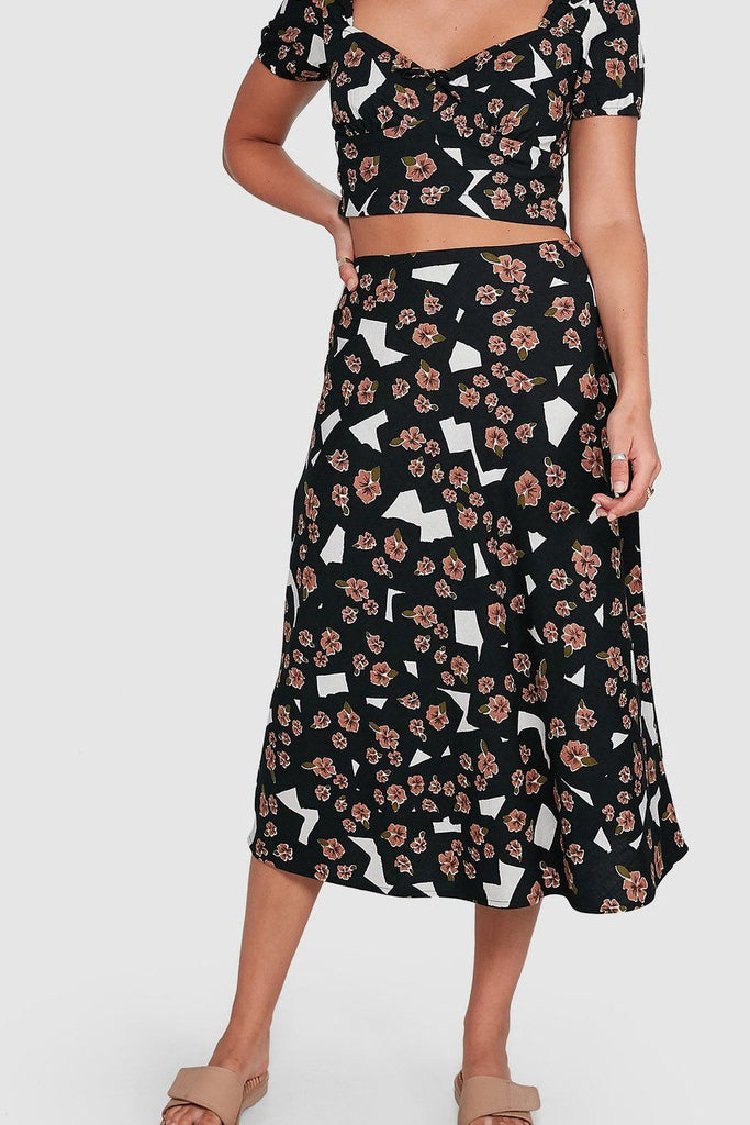 RVCA Floral Pop Midi Skirt Black Front