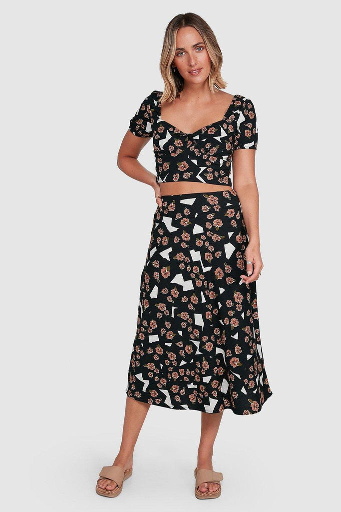 RVCA Floral Pop Midi Skirt Black front Full