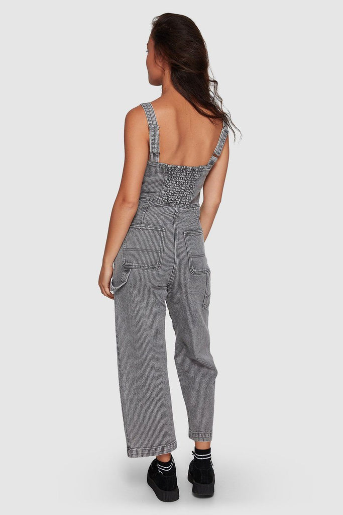 RVCA Overworked Stripe Overall Grey Stripe Back