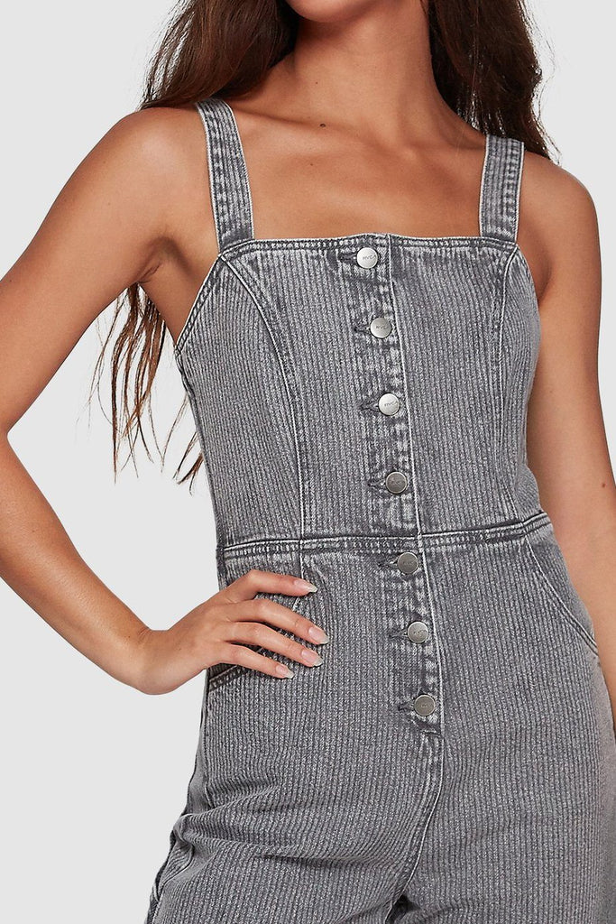 RVCA Overworked Stripe Overall Grey Stripe Front Detail