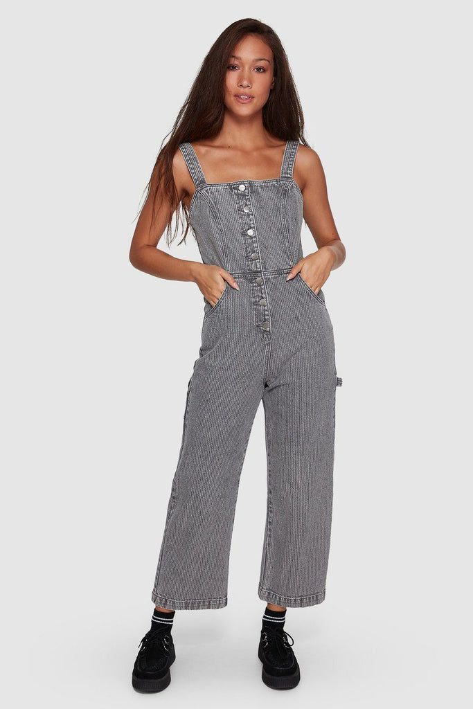 RVCA Overworked Stripe Overall Grey Stripe Front