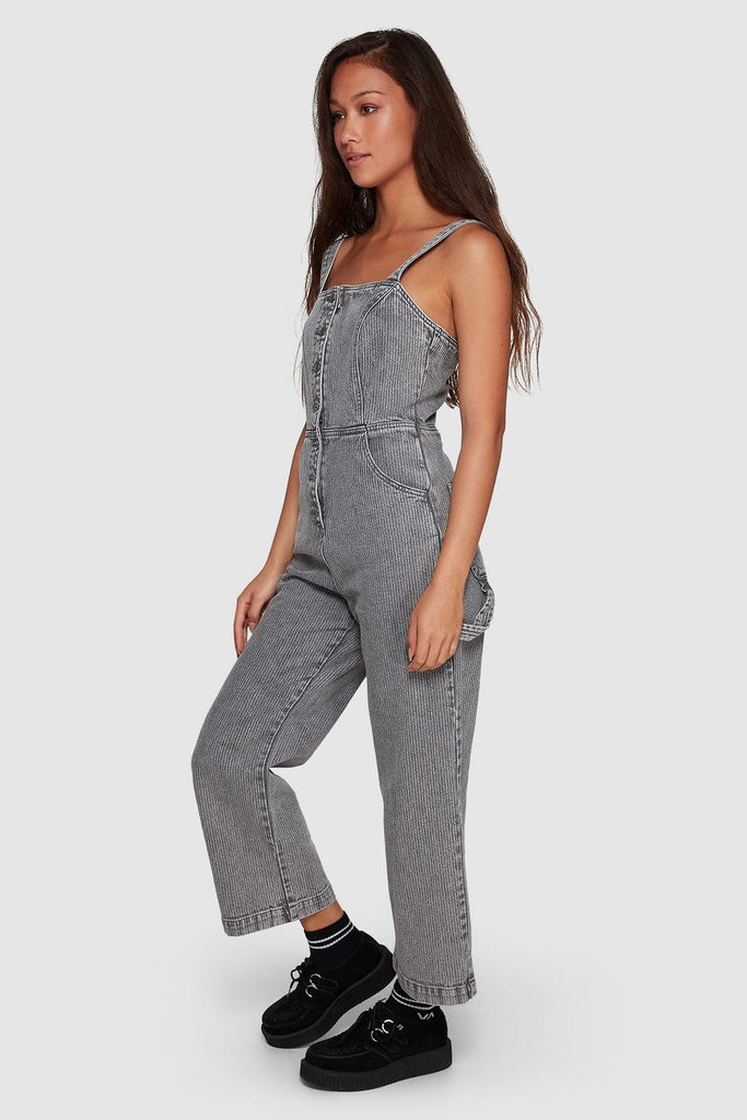 RVCA Overworked Stripe Overall Grey Stripe Side Angle