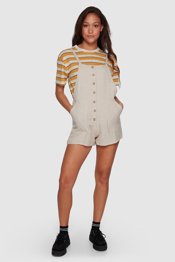 RVCA Oats Shorty Overalls Oatmeal Front