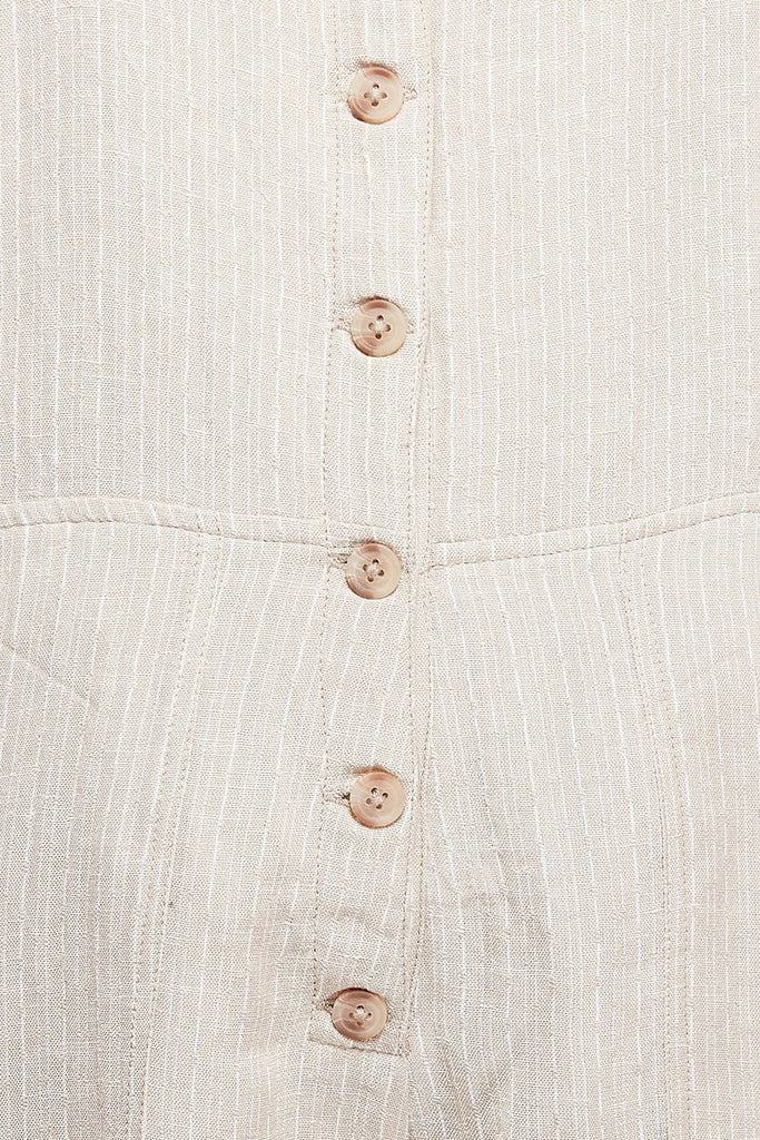 RVCA Oats Shorty Overalls Oatmeal Fabric Detail