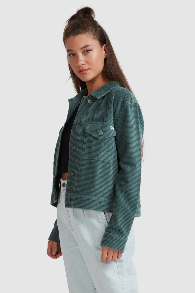 RVCA Roy Cord Jacket Balsam Green Side