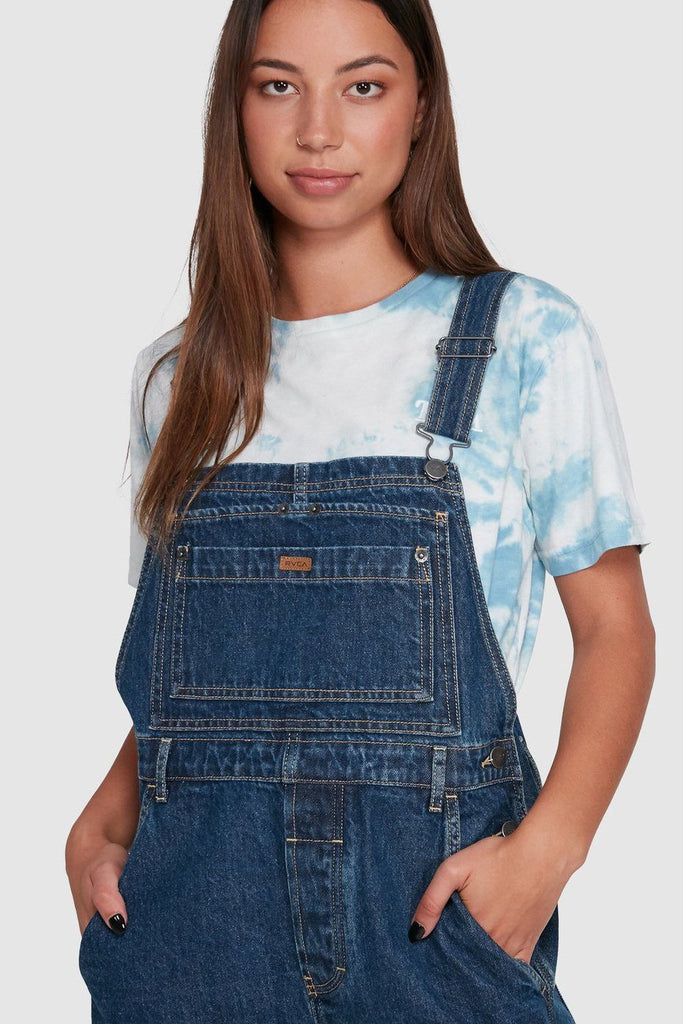 RVCA Sloucher Denim Overalls Dark Indigo Front Close Up