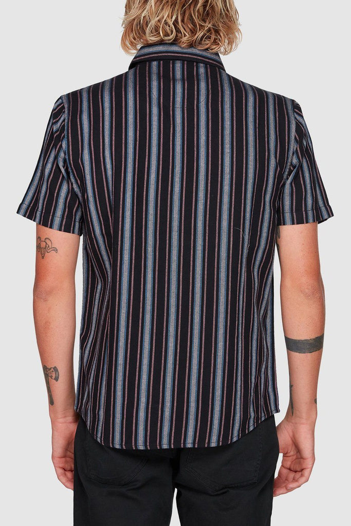 RVCA Topper Stripe Shirt Black Back