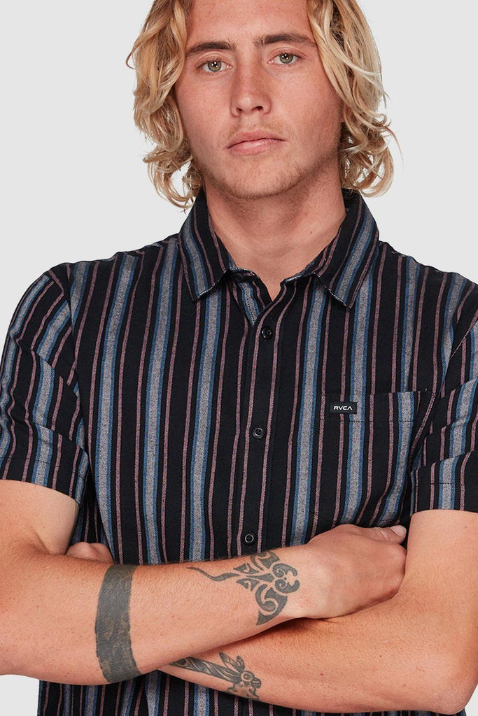 RVCA Topper Stripe Shirt Black Front Close Up