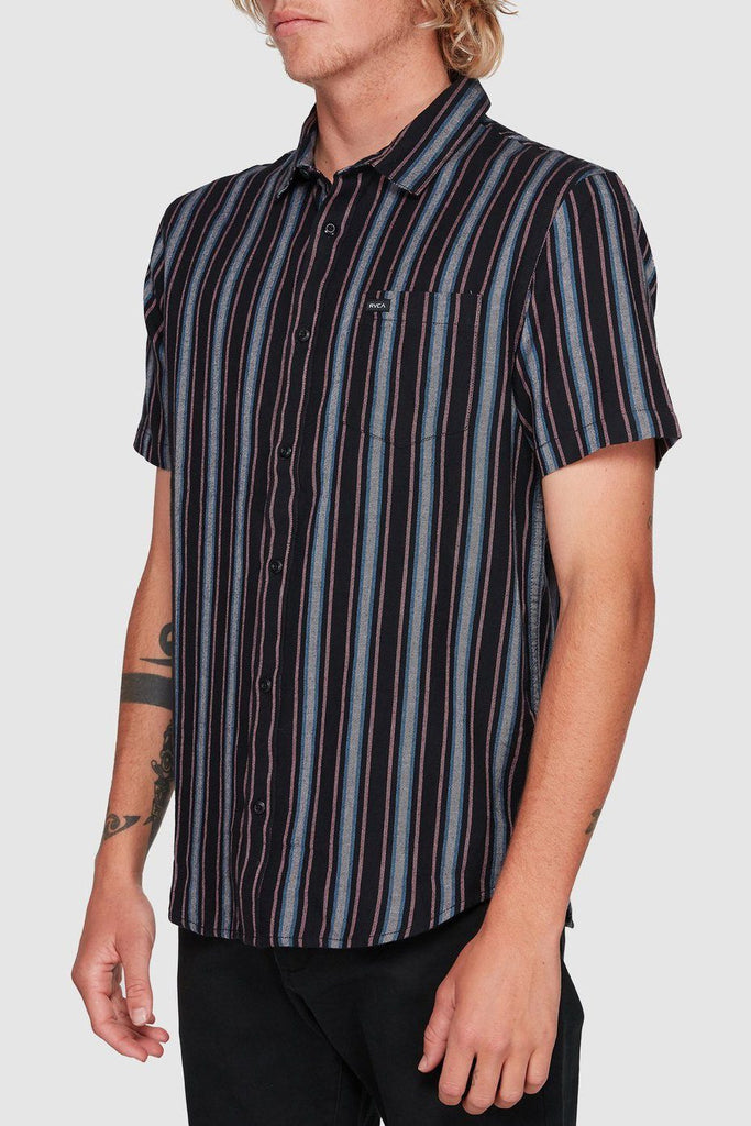 RVCA Topper Stripe Shirt Black Front Side Angle