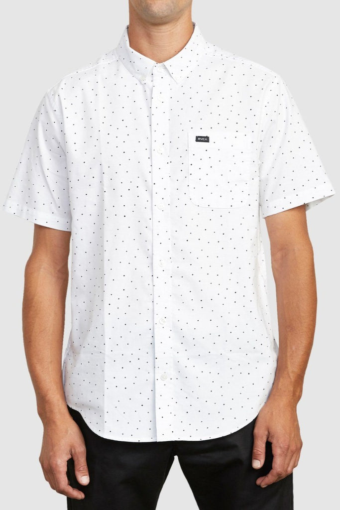 RVCA Thatll Do Stretch Short Sleeve Shirt White front