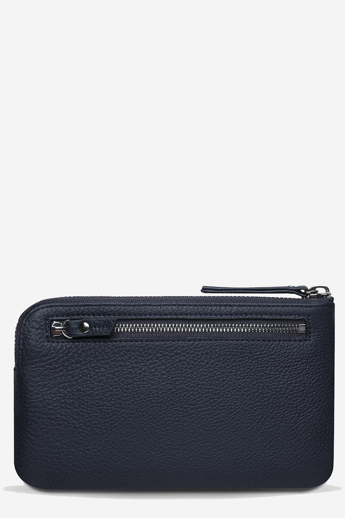 STATUS ANXIETY Smoke And Mirrors Pouch Navy Blue Back