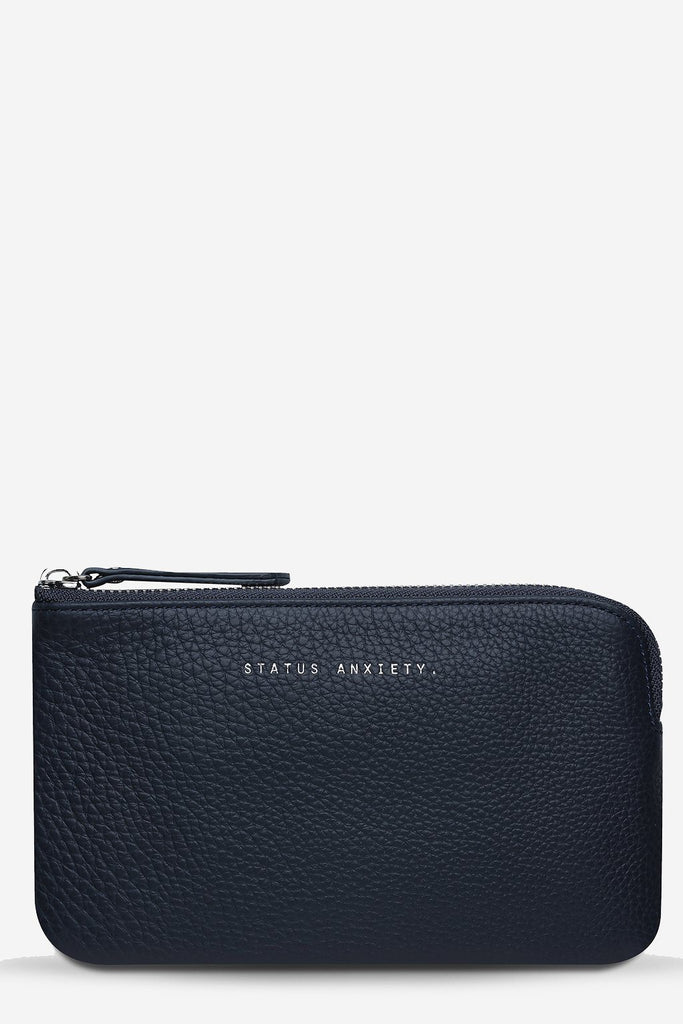 STATUS ANXIETY Smoke And Mirrors Pouch Navy Blue Front
