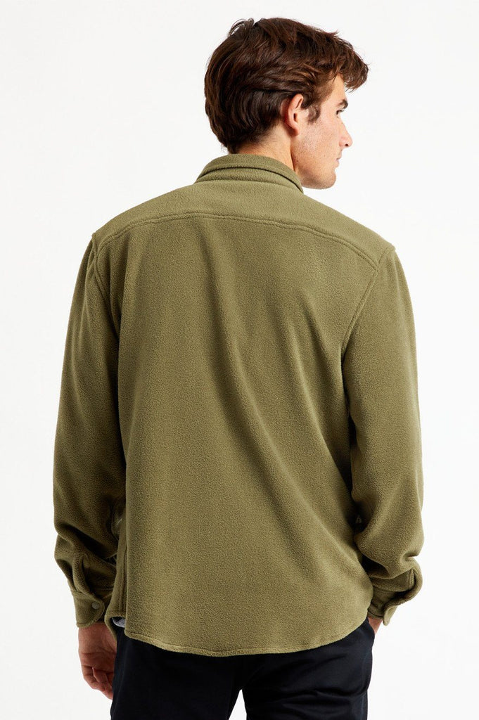 BRIXTON Bowery Fleece Military Olive Back