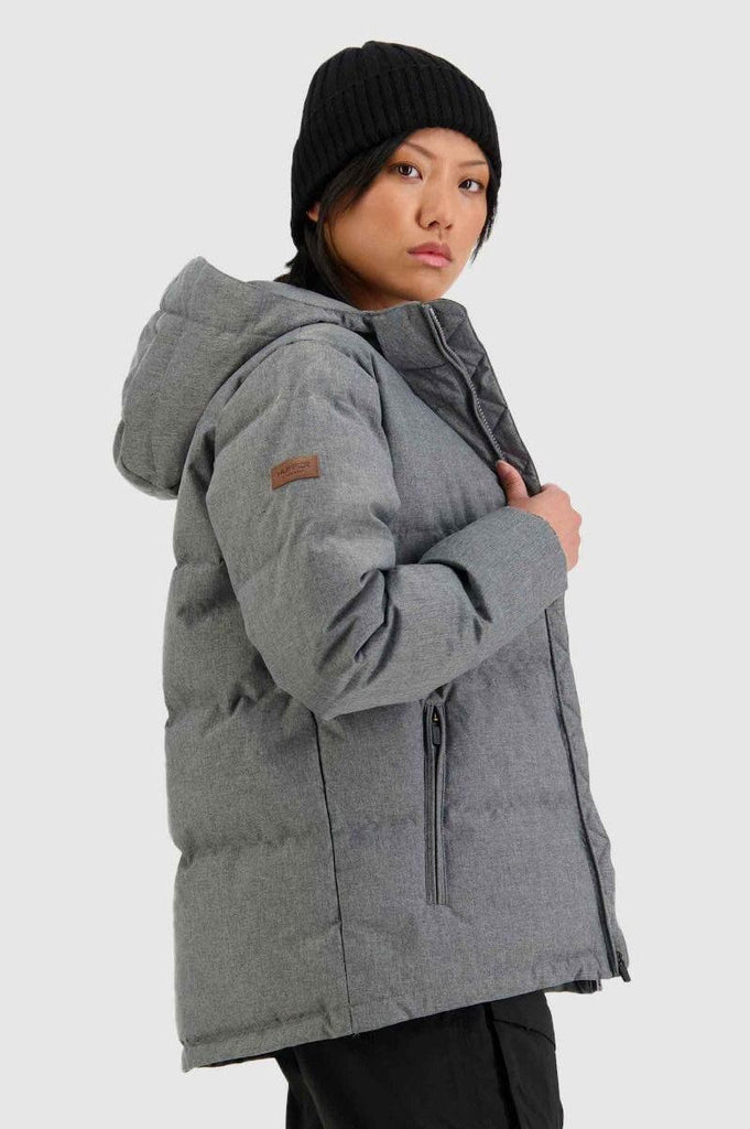 HUFFER Wms Classic Down Jacket Herringbone Grey Side