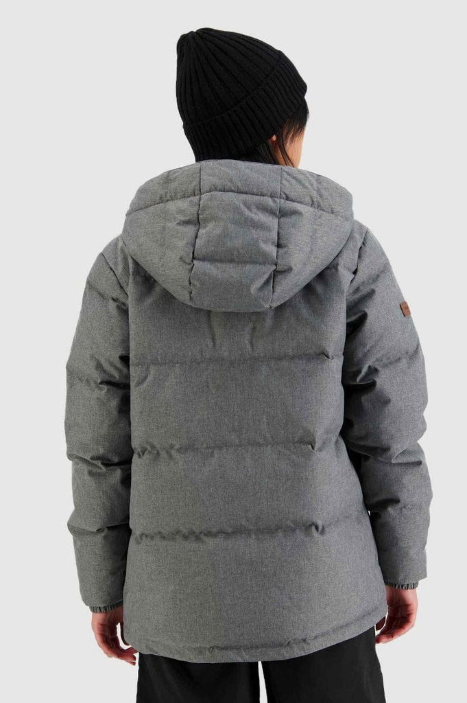 HUFFER Wms Classic Down Jacket Herringbone Grey Back