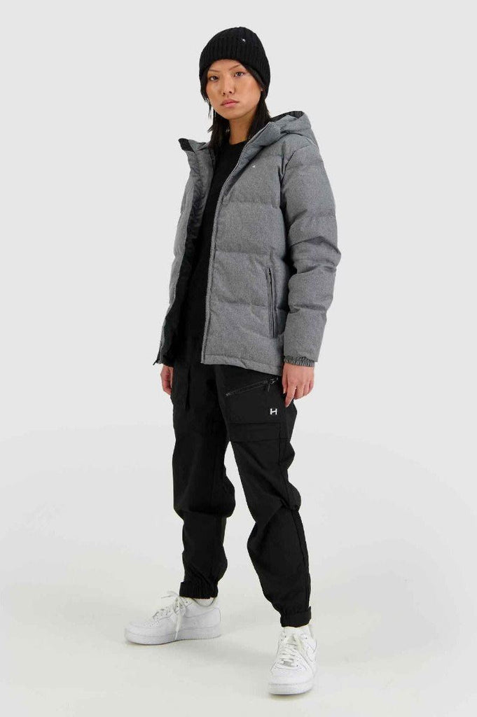HUFFER Wms Classic Down Jacket Herringbone Grey Side Full