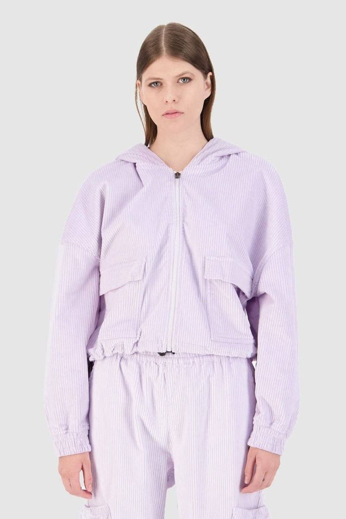 HUFFER Comfort Cord Teyana Hood Lilac Front