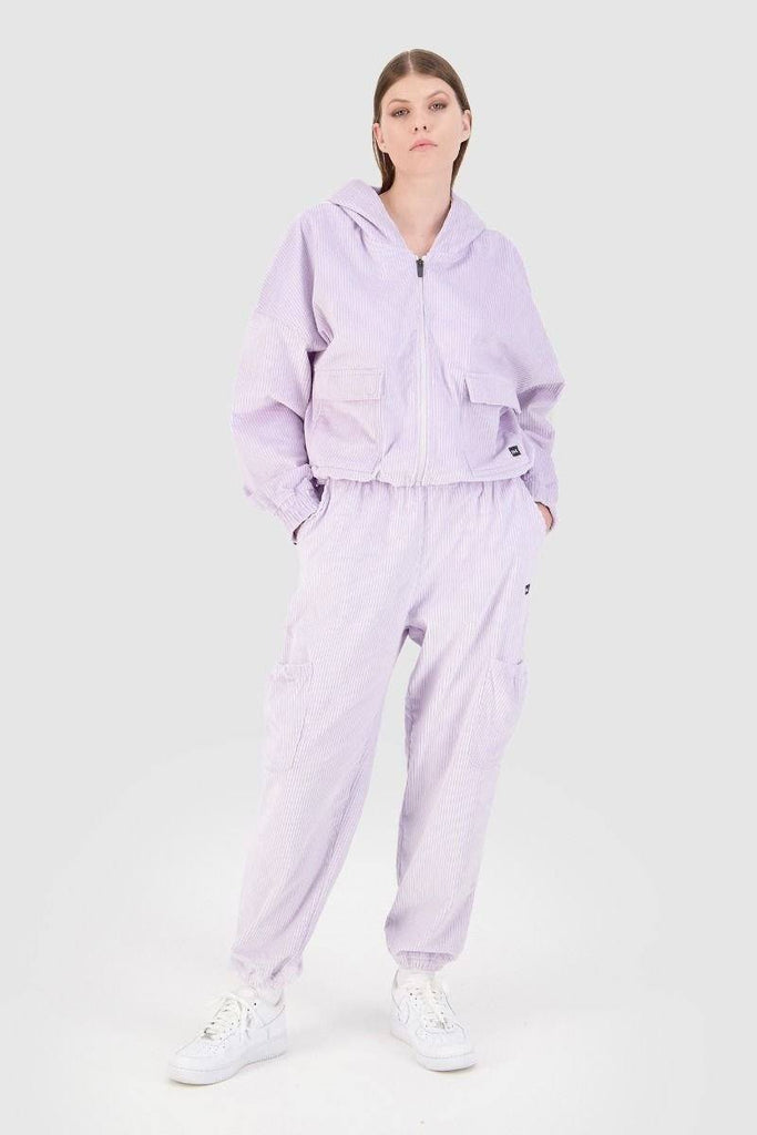 HUFFER Comfort Cord Teyana Hood Lilac Front Full