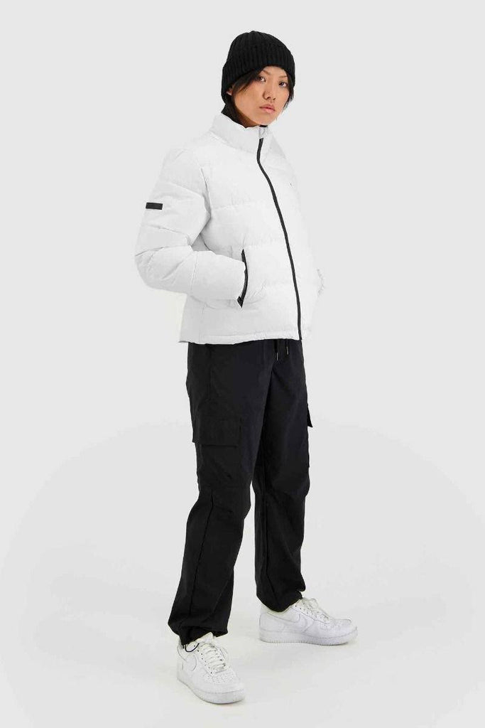 HUFFER Wms Track Puffer Jacket White Side Full