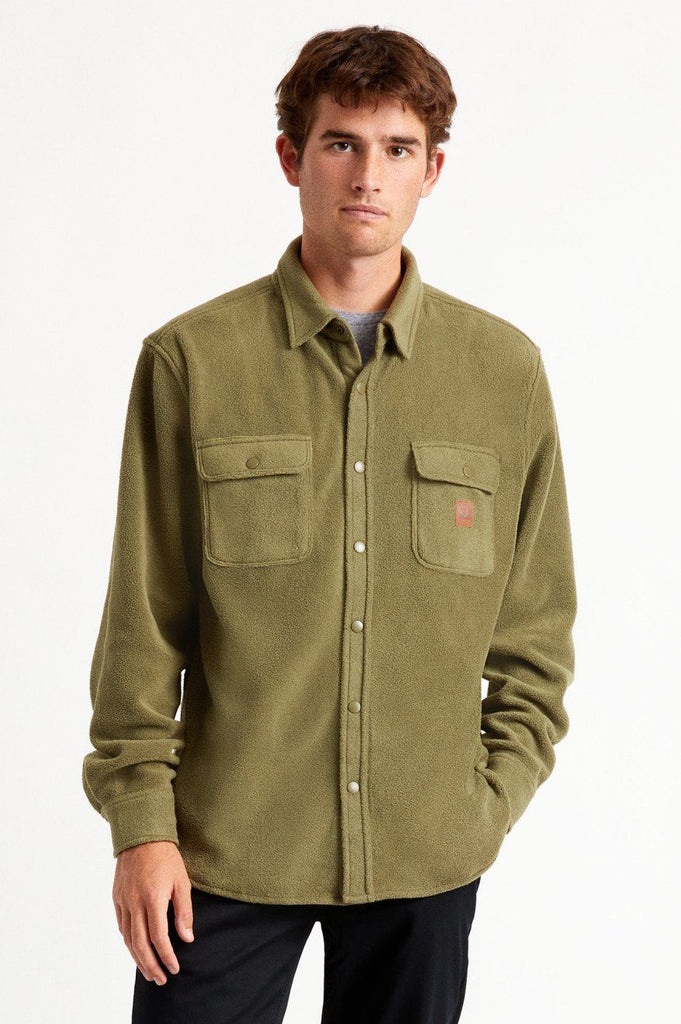 BRIXTON Bowery Fleece Military Olive front