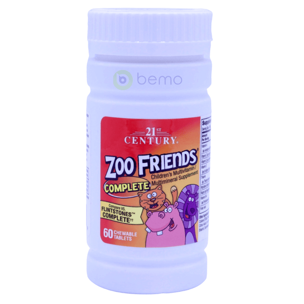 21st Century, Zoo Friends Complete, Children's Multivitamin + Multimineral, 60 Chewable Tablets - bemo (4425931260044)