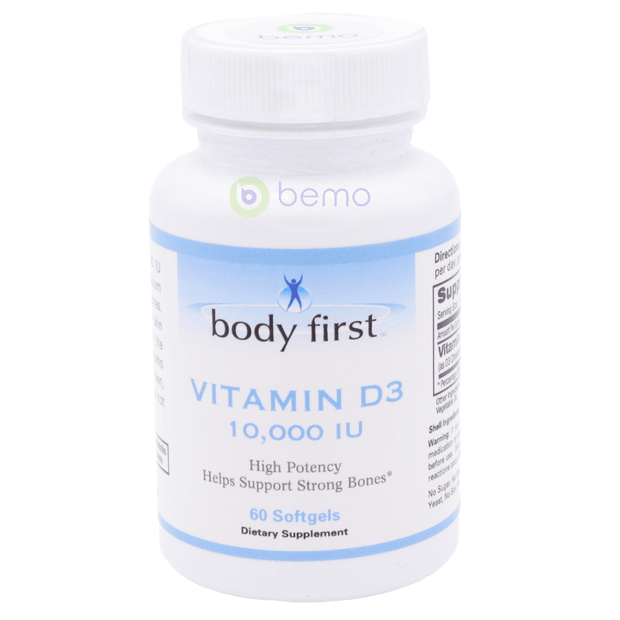 Body First, Vitamin D-3, 10000 IU, 60 Softgels (5378965373092)