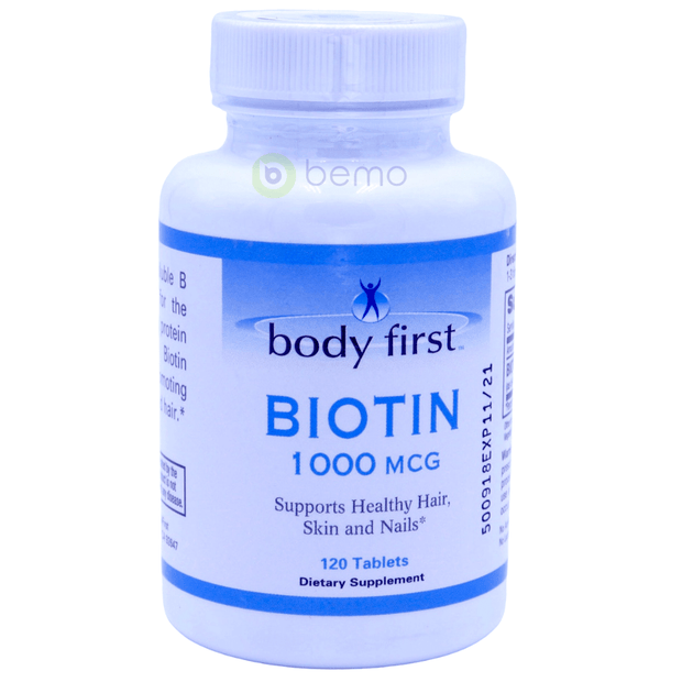 Body First, Biotin, 1000mcg, 120 tablets - bemo (4414552539276)