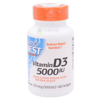 Doctor's Best, Vitamin D-3, 5000 IU, 180 Softgels (5378943746212)